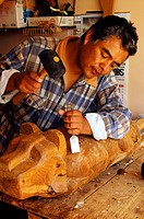 Marco Antonio Sanchez intrument maker of pre hispanic music, Pozos, Guanajuato district, Mexico