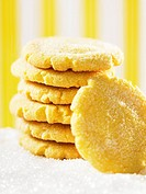 A stack of sugared lemon biscuits
