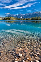 Lake Beauvert in the Jasper National Park, Alberta, Canada