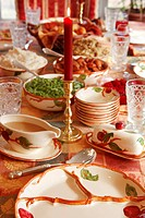 Table laid for Thanksgiving USA