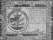 CONTINENTAL CURRENCY, 1775.United States Continental Currency five dollar banknote, 1775.