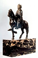 CHARLEMAGNE (742-814).King of the Franks and emperor of the West. Bronze equestrian statuette, 9th century; horse is 16th century restoration.