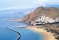 Las Teresitas beach, aerial view. Tenerife island, Canary Islands, Spain
