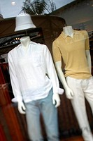 Mannequins displayed in a shop window