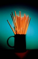 Close_up of pencils in a mug