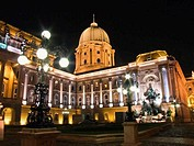 Hungary, Budapest, Interior court of Buda Castle illuminated at night