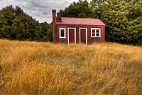 Red shed and dried grass, small farm building near Little River, Banks Peninsula, New Zealand