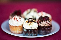 USA, New York State, New York City, Red Hook Mercados,Assorted cupcakes on paper plate