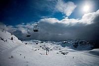 High angle view of ski lifts, Kitzbuhel, Tyrol, Austria