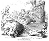 CHILDREN ON SEESAW, 1854.Wood engraving, American, 1854.