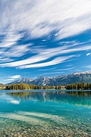 Lake Beauvert and Rocky Mountains, Jasper National Park, Alberta, Canada