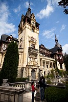 Main facade of the Peles Castle  Sinaia, Transylvania, Romania, Europe