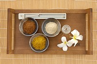 High angle view of spa products in a tray