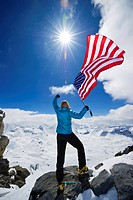 Mountaineer celebrates on top of the World