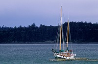 Sailboat in Penn Cove, Ebey's Landing National Historic Reserve, Washington, USA
