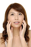 Portrait of young adult woman with health skin of face (thumbnail)