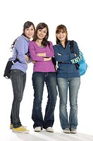 Three female university students standing together