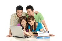 Group of university students studying together