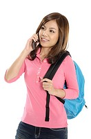 Female university student talking on a mobile phone