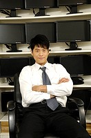 Businessman smiling in an office