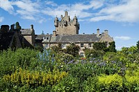 Cawdor Castle CAWDOR INVERNESSSHIRE Gardens flowers path cottage and castle tower