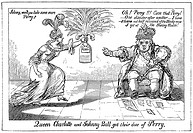 BATTLE OF LAKE ERIE, 1813.'Queen Charlotte and Johnny Bull Got Their Dose of Perry': contemporary American cartoon punning on Perry's name and celebra...