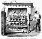COOKING, 1859.Fifty-six geese are roasted at once for the inmates at the Old Men's Hospital in Norwich, England. Wood engraving, English, 1859.