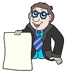 Businessman with contract _ isolated illustration.