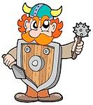 Angry viking warrior _ isolated illustration.
