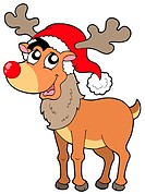 Cartoon Christmas reindeer _ isolated illustration.
