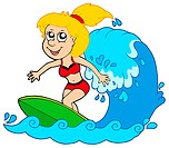 Cartoon surfer girl _ isolated illustration.