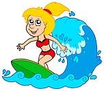 Cartoon surfer girl _ isolated illustration.