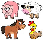 Cute country animals collection _ isolated illustration.