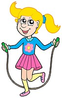 Girl with jumping rope _ isolated illustration.