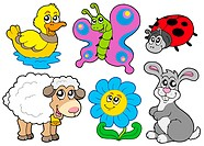 Spring animals collection _ isolated illustration.