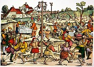 VILLAGE CELEBRATION, c1530.Medieval villagers performing a nose dance during a celebration. Woodcut, c1530, by Nikolaus Meldemann.