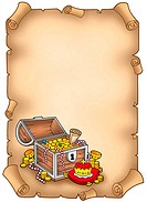 Parchment with big treasure chest _ color illustration.