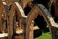 Gothic arches at cloisters, Bella Pais Abbey,Keryneia, Girne, North Cyprus