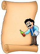 Parchment with waiter serving wine _ color illustration.