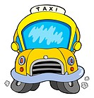 Cartoon taxi car _ isolated illustration.