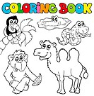Coloring book with tropic animals 3 _ isolated illustration.