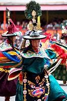 Cham dancers performing in a religious festival, Tsechu Festival, Thimphu, Bhutan