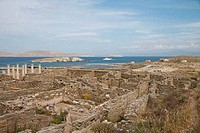High angle view of the old ruins of buildings, Delos, Cyclades Islands, Greece