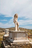 Headless statue of Praetor Gaius Billienus on a pedestal, Delos, Cyclades Islands, Greece