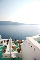 High angle view of a tourist resort at the seaside, Oia, Santorini, Cyclades Islands, Greece
