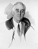 FRANKLIN DELANO ROOSEVELT(1882-1945). 32nd President of the United States. The unfinished portrait, by Madame Elizabeth Shoumatoff, for which Presiden...