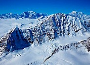 Snowcapped mountain ranges, Mt Vancouver, Mt Logan, Kluane National Park, Yukon, Canada