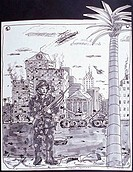 Postcard From Panama 1989 Erik Slutsky b.20th C. Canadian Ink wash on paper