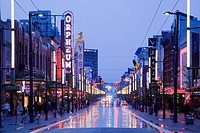Canada, British Columbia, Vancouver, Orpheum Theatre on Granville Street at dusk