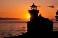 Silhouette of a lighthouse, Lime Kiln Lighthouse, Lime Kiln Point State Park, Washington State, USA